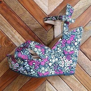 Floral Platform Wedge Sandals